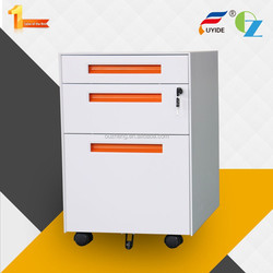 High quality customizable anti tilt 3 drawer office movable steel file cabinet mobile pedestal