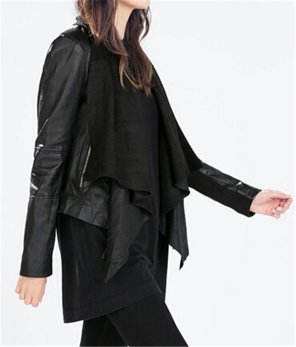 2015 fabrik junge mode wasserfall kragen damen leder kurze. Black Bedroom Furniture Sets. Home Design Ideas