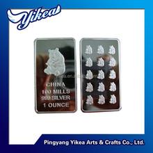 1 ounce 100 mills 999 silver Panda clad bullion bars