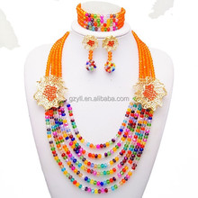 African designer delicate crystal beads necklace set jewelry fashion women necklace beads set