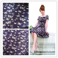 twill printed knitted denim fabric for women's dress
