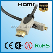 High speed Micro HDMI cable 1.4 D type to A type support 3D & 1080P with ethernet for PS3,PC,Set-top boxes,HDTV,Blu-Ray