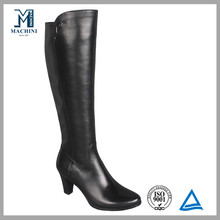 Cheap 15' knee high black women waxed leather boots
