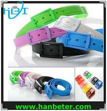 Newest bright color unisex silicone rubber belt size 120*3.5cm
