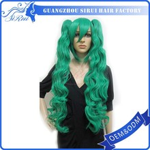 Professional Guangzhou factory hot sale top quality cosplay long green wig, cheap cosplay wig