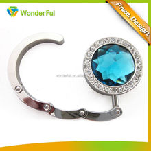 Bag Parts & Accessories Clear Blue Crystal Promotion Cheap Fashional Metal Bag Hanger With Individual Packing