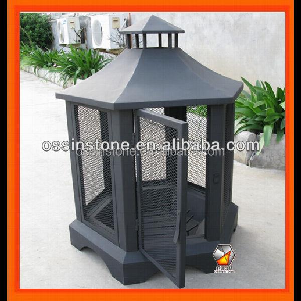 Rectangle pagode patio ext rieur chemin e au bois foyer for Foyer exterieur acier