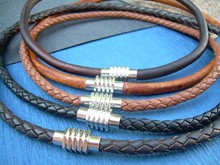 Mens Leather Necklace Stainless Steel Magnetic Necklace Mens Jewelry