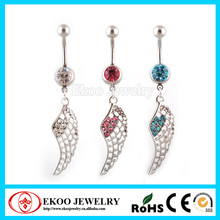 316L acero quirurgico alhajada ala rota Dangle Belly Button Rings