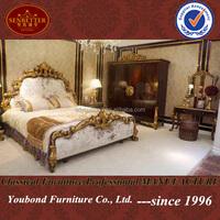 0063 European style bedroom furnitrue set antique furniture bed crown
