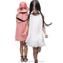 MS64412C summer kids girls new design white chiffon dress