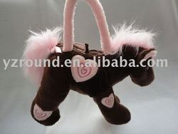 hand bag with horse shaped plush toy