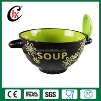 Wholesale microwave safe cheap ceramic soup bowl with two handle
