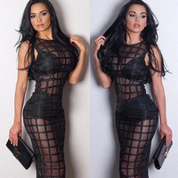 2015 Newest Sexy Sleeveless Black Mesh Grid Hollow Out Long Length Bandage Dress Evening Party Bodycon Dress