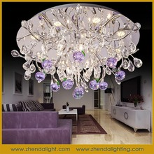 Fancy led ceiling light & pendant chandelier with k9 purple apple crystal with wireless remote control