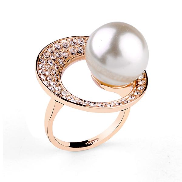 Plateado nuevo dise o grandes anillos de perlas de oro 18k for Disenos de joyas en oro