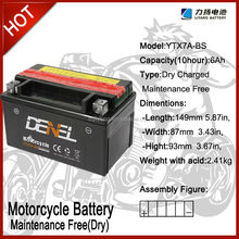 ytx7a-bs Dry-charged maintenance free Motorcycle Battery