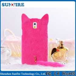 Elegant Lady's Phone Cover TPU Plush Cat Shape Cartoon Case for Note2 II N7100 N7108 Case Cheap Mobile Phone Case