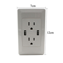 Dual USB Electric Adapter Dual Plug US Wall Socket Outlet Power