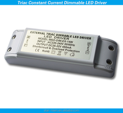 14W dimmable led power driver 450ma constant current TRIAC dimmable led driver