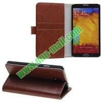 Crazy Horse Texture Genuine Leather smart cover case for samsung galaxy note 3 with Card Slots and Holder