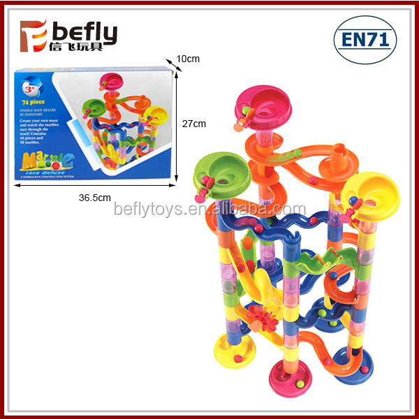 Toys With Balls And Tubes : Kid s building blocks marble race deluxe plastic ball tube