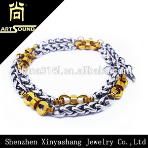 ouro e prata edforce link aço inoxidável colar para homens