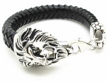 Cool Bracelet Biker Men Jewelry Punk Rock Stainless Steel Silver Lion Head Buckle braid leather Bracelet