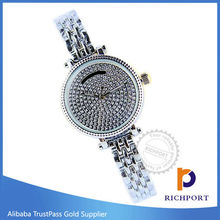 Charm Diamond Analog Aluminum Silver Women Watch