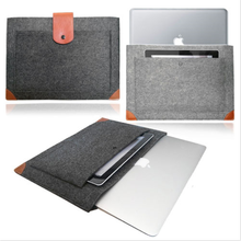 Handmade Black Felt Case Leather Corner Bag Sleeve with Leather Strap Magnetic Button for Laptop Tablet with a Pocket Outside