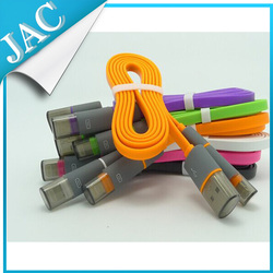 colorful micro usb cable, flat noodle usb cable for iphone 6/samsung