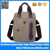 Canvas and leather man handbag business custom tote bag