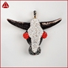 Imitation ox bone carved cow with zircons pendant Bead, alloy jewelry with a cow fashion spike ethnic jewelry