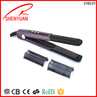 Hot Selling european 110-240V hot sale newest fashion permanent fast ceramic hair straightener with removable comb CE ROHS GS CB