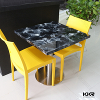 KKR round quartz stone top dining table fast food table chair