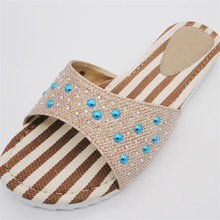 ornaments with stones open toe fashion lady rubber slipper