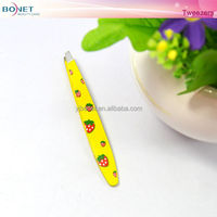 BTZ0274C Cute Cheap Strawberry Yellow Small Printing Eyebrow Tweezers