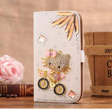 hot sales cute cartoon character phone case for iphone 6 hello kitty rhinestone diamond wallet leather Flip case