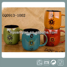 370ml ceramic cups and mugs reactive glazes roud shape with pattern