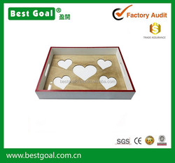 Love heart hollow out design wooden tray home storage tray