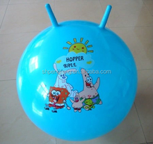 PVC jumping ball for kids ,sheep-horn handle ball