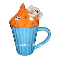 ceramic cupcake mug with lid, elephant