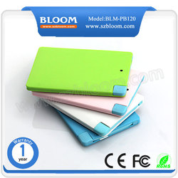 China hot selling easy to carry 2000mAh universal power bank with fc ce rohs