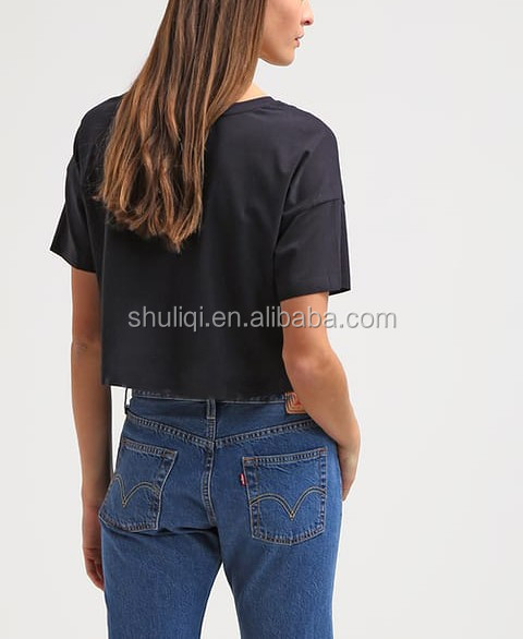 High quality hot sale crop tee 100 cotton t-shirt custom screen print China manufacturer women crop top