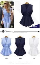 S30685A WOMEN'S CLOTHING 2015 SUMMER BLOUSES NEW DESIGN V-NECK ELASTIC WAIST CHIFFON TOPS
