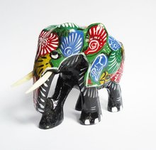 Hand Carved and Painted Wooden decorative Elephant from Sri Lanka Free Shipping