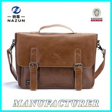 Briefcase Soft Leather OEM Logo PU Leather Brown Classic Messenger Bag