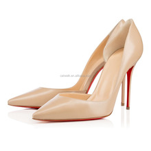 Guangzhou Wholesale Designer Hand Made Leather Heels, High Heels Slip ons Women Court Shoes