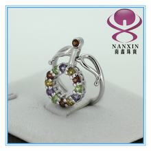 the latest fashion 925 sterling silver turnable multicolor gems rings
