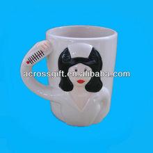 Hand made porcelain mug 3D handle